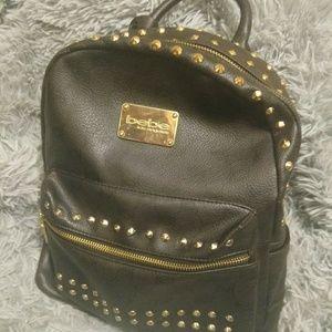 BEBE | Studded Black Leather Mini Backpack!